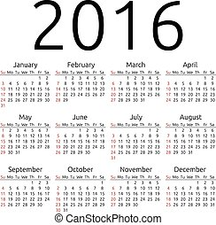 Vector calendar 2016, Sunday - Simple 2016 year calendar,...