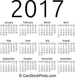 Vector calendar 2017, Sunday - Simple 2017 year calendar,...