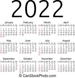 Vector calendar 2022, Sunday - Simple 2022 year calendar,...