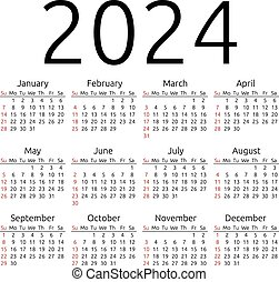 Vector calendar 2024, Sunday - Simple 2024 year calendar,...