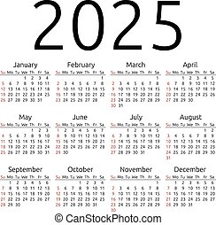 Vector calendar 2025, Sunday - Simple 2025 year calendar,...