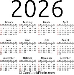 Vector calendar 2026, Sunday - Simple 2026 year calendar,...