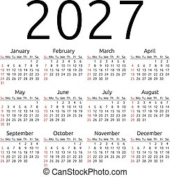 Vector calendar 2027, Sunday - Simple 2027 year calendar,...