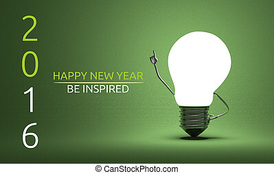 Happy New Year 2016 and be inspired greeting card, light...