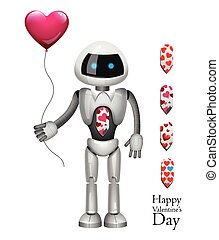 Tall robot heart - Valentine's Day. Robot with balloon...