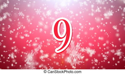 Countdown rotate in in snow falling