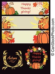 Autumnal banners and design elements with pumpkin