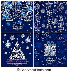 Blue xmas greeting cards