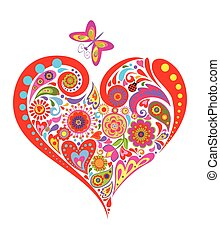 Print with summery floral colorful heart