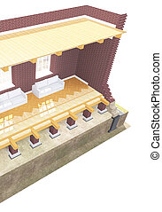 Cross section of brick house. 3D architectural illustration