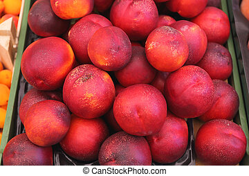 Nectarines - Bunch of Smooth Red Nectarines Peaches Fruit