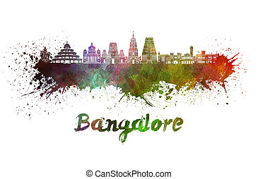 Bangalore skyline in watercolor splatters with clipping path