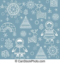 Winter abstract wallpaper with Eskimo, firs and igloo...
