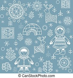 Winter abstract wallpaper with Eskimo, trees and igloo...