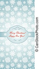 Winter blue greeting template with beautiful paper...