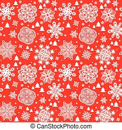 Winter red background with paper snowflakes and firs...