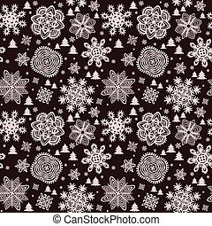 Winter vintage paper wallpaper with snowflakes and firs