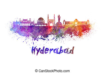 Hyderabad skyline in watercolor splatters with clipping path