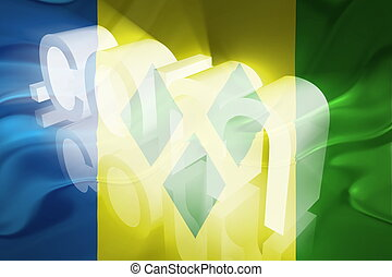 Flag of Saint Vincent and Grenadines wavy www internet -...