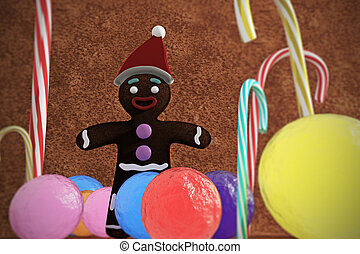 gingerbread man in a candy world
