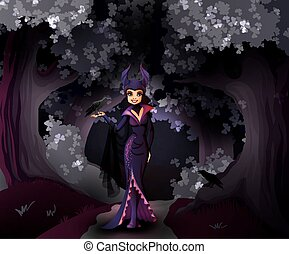 Maleficent character in front of dark forest