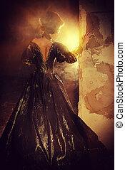 baroque light - Art Fashion. Beautiful young woman in...