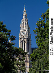 Main Clock Tower on the Rathaus in Vienna