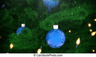 Christmas tree decoration with balls and light bulbs,...
