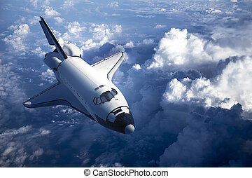 Space Shuttle Landing In The Clouds