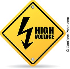 High voltage warning sign isolated on white background
