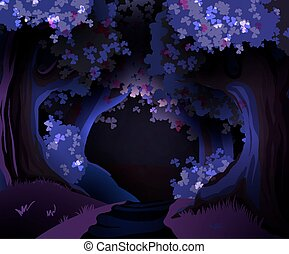 Mystical dark forest vector illustration