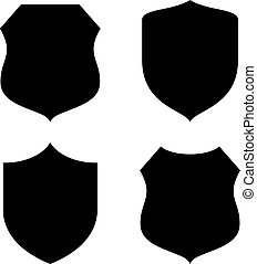 Shield silhouette - Shield shapes silhouettes set