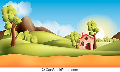 Parallax landscape cartoon seamless repeating background...