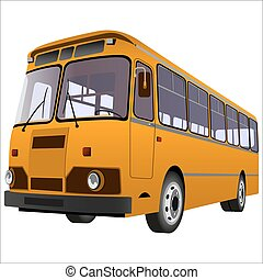 passenger bus for transportation of people on a white...