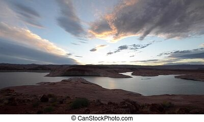 Boat after sunset Lake Powell Birds eye view - single boat...