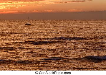 Orange dusk at sea - Orange seascape with beautiful cloudy...