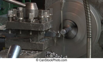 Working of the lathe in the workshop - The process of...