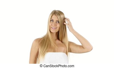 elegant woman with long straight blond hair slow motion,...