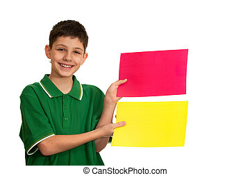 Choose your favourite color! - A kid is holding red and...