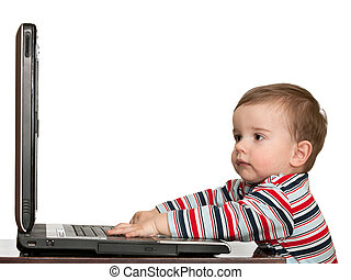 Little toddler\'s first studying with computer - A toddler...