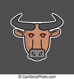 Angry bull head mascot - Vector logo or icon design element...