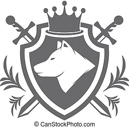 Vector shield with wolf design element