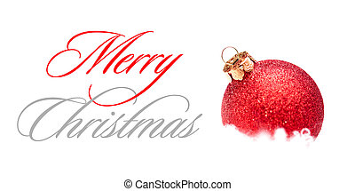 Christmas Decoration with Red Ball in the Snow on the White Background. Greeting Card