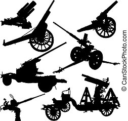 Cannon - Set of vector silhouettes of historical and modern...