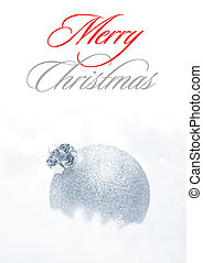Christmas Decoration with White Ball in the Snow on the White Background. Greeting Card