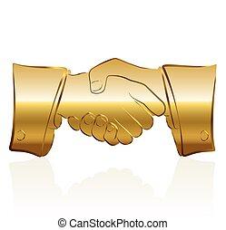 Golden Handshake - Golden handshake symbol Isolated vector...