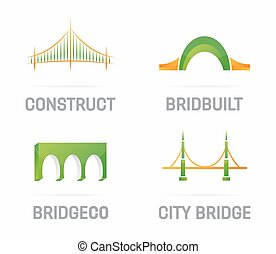 Vector set of bridge logo design elements - Vector logo or...