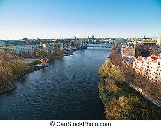 Wroclaw , Poland , Odra River , Grunwaldzki Bridge