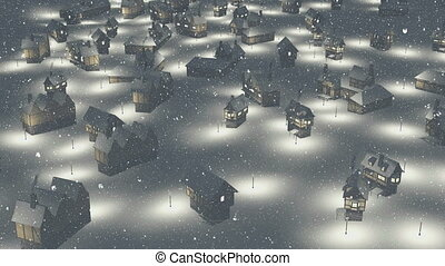 Flight over snowy township at night - Flight over...