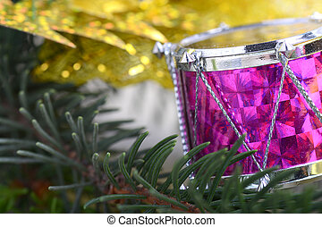 navidad, Plano de fondo, con, tambores, verde, eva,...